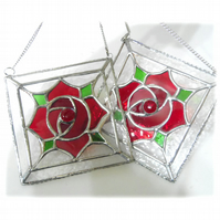 RESERVED 2 Machintosh Rose Square Stained Glass Suncatchers