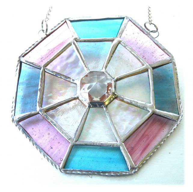 Octagon Suncatcher Stained Glass Crystal Abstract 012