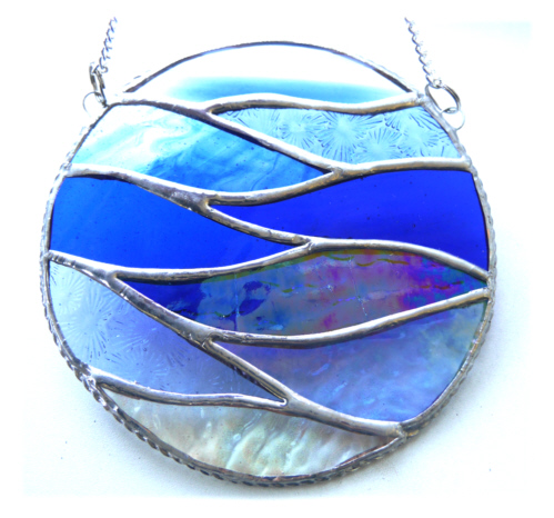 Making Waves Blue Stained Glass Suncatcher Handmade Ring Sea 031