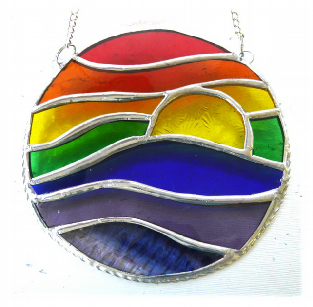 Rainbow Waves Stained Glass Suncatchers 015