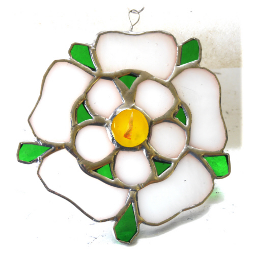 Yorkshire Rose Suncatcher Stained Glass 069