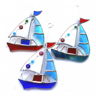 Boat Suncatcher Stained Glass Sailboat Yacht Red, Blue-Green or Blue
