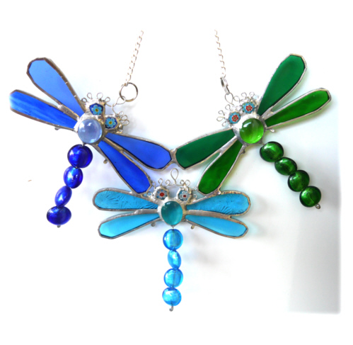 Trio of Dragonflies Suncatcher Stained Glass 011