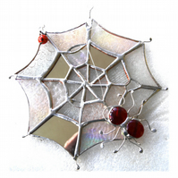 Spider's Web Suncatcher Stained Glass with Red Spider and Ladybird 042