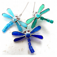 Trio of Dragonflies Suncatcher Stained Glass 012