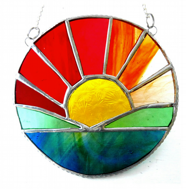 Sunrise Picture Stained Glass Suncatcher Handmade Sun Ring 062
