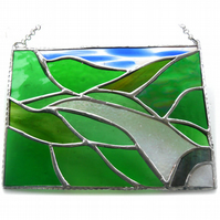 River Valley Panel Stained Glass Landscape Picture Wye 008