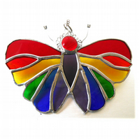 Butterfly Suncatcher Stained Glass Rainbow Handmade