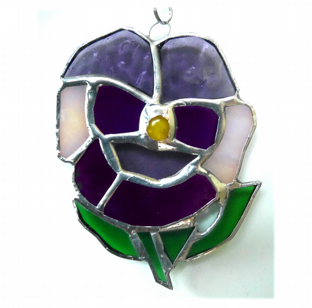 Pansy Suncatcher Stained Glass Purple Flower 012