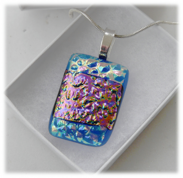True Blue Dichroic Glass Pendant 168 Aqua Pink Shimmer and silver plated chain