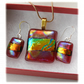 Dichroic Glass Pendant Earring Set 074 Red Gold Streaky with gold plated chain