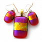 Dichroic Glass Pendant Earring Set 077 Amber Plum Shimmer with gold plated chain