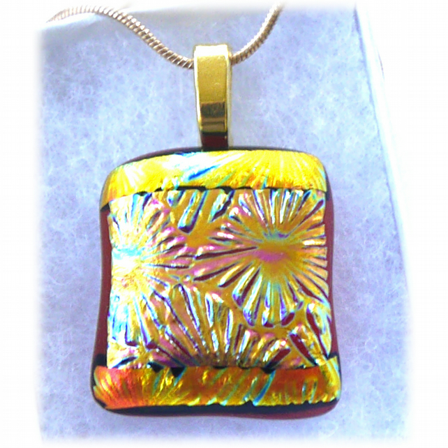 Dichroic Glass Pendant 174 Plum Golden Beams Handmade with gold plated chain