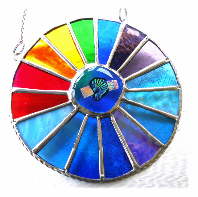 Rainbow Sea Colourwheel Suncatcher Stained Glass Handmade