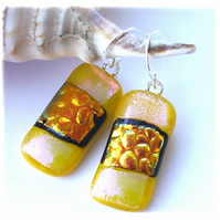 Handmade Fused Dichroic Glass Earrings T021 Yellow Gold Bubbles