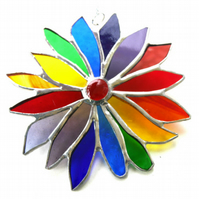 Rainbow Flower Stained Glass Suncatcher 068