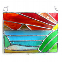 Sea View Panel Stained Glass Picture Landscape Sunset 007