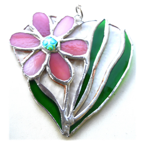 Daisy Heart Suncatcher Stained Glass Flower Pink 013