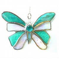 Birthstone Butterfly Suncatcher Stained Glass Aquamarine March 063