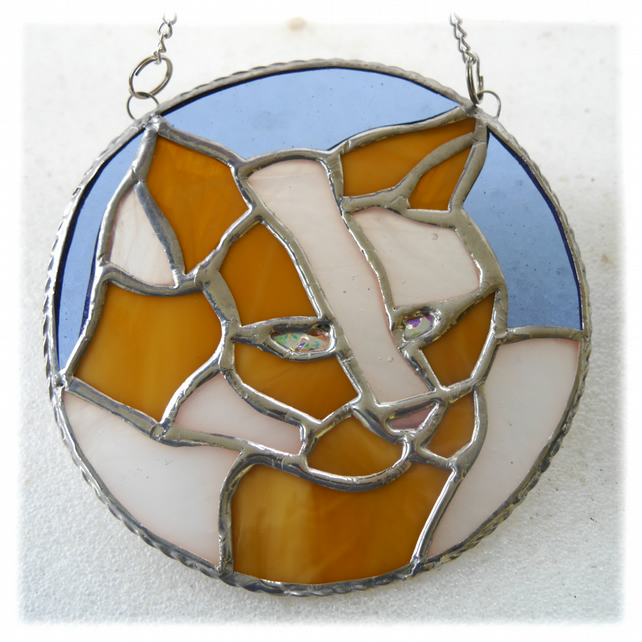 Cat Suncatcher Stained Glass Ring Ginger White 021