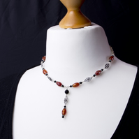 Red Agate necklace - gemstone and black bead with elegant links