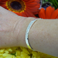 Sterling silver thick battered bangle