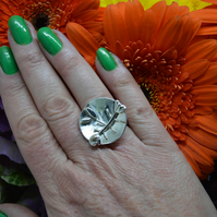 Sterling silver fish and chips ring