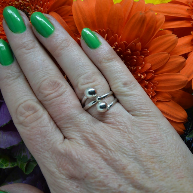 Sterling silver ring with balls.