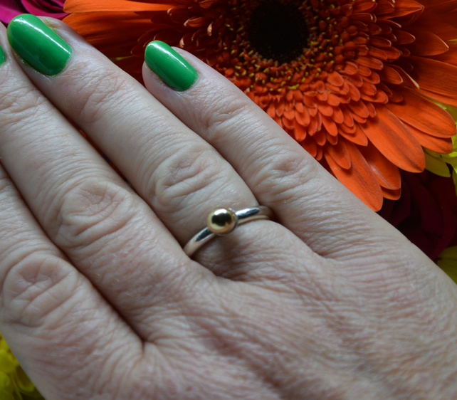 Sterling silver & gold ball ring