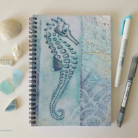 Seahorse design lined A5 notebook 6x8 inch approx