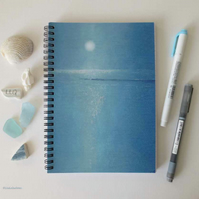 Moonlit shore A5 lined spiral jotter notebook approx 6x8 inch
