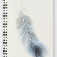 Blue feather A5 lined spiral notebook 6x8 inch approx