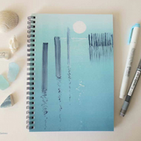Full moon on the sea A5 lined, spiral notebook jotter journal