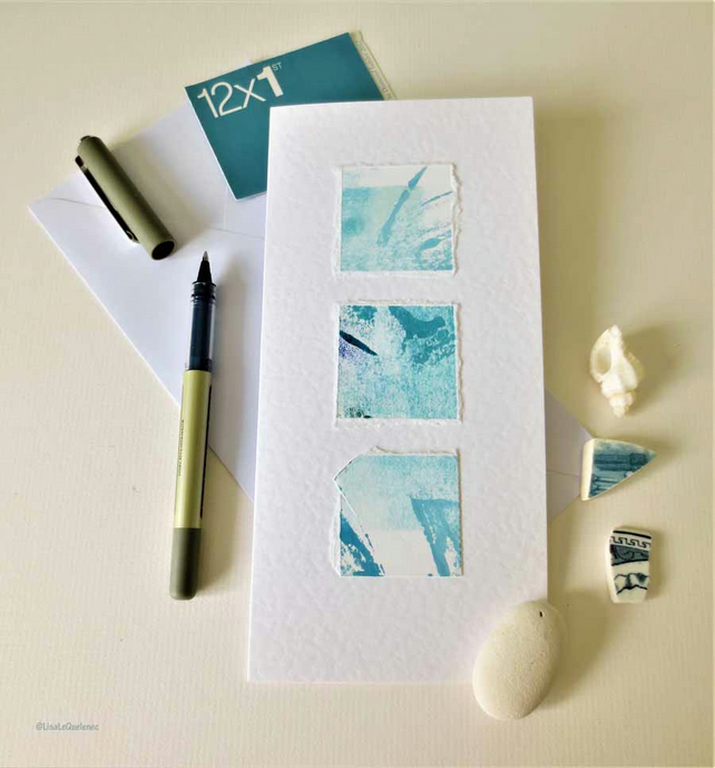 art card abstract ocean inspired original art card OOAK