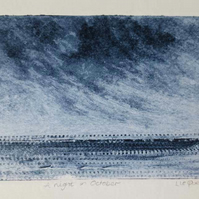 Atmospheric coastal night time collagraph print no.1 in an edition of 5