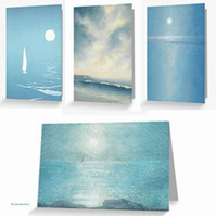 Evening sailing blank artist cards notelets set of four