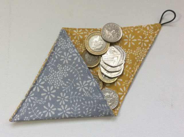 Small Triangular Coin Purse, pouch, silver grey cotton