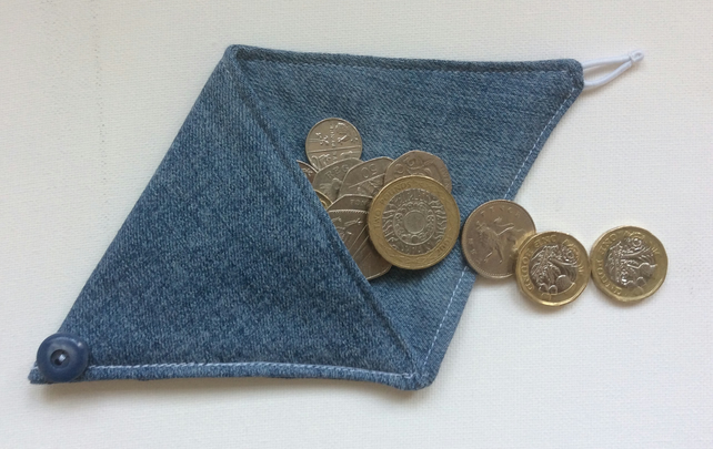 Small Triangular Coin Purse, pouch, denim