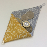Small Triangular Coin Purse, pouch, gold  cotton