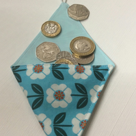 Small Triangular Coin Purse, pouch,  turquoise cotton