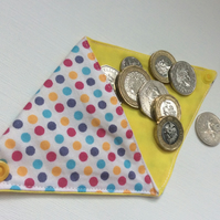 Small Triangular Coin Purse, pouch,  dotty, spotty cotton