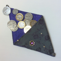 Small Triangular Coin Purse, gift bag, grey green fabric, sequins, jewels