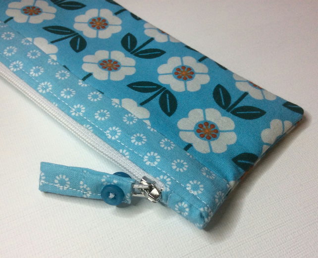 Zipped bag, make up bag, pencil case, turquoise floral cotton