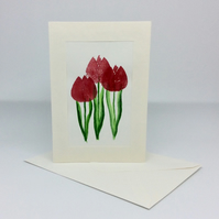 Card,  original art, three red tulips, hand printed and painted