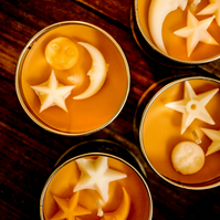 Spiced Pumpkin Candle with Moon and Star Vintage Detail