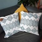 Handprinted Blue Tile Pattern Cushion