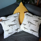 Handprinted Pied Wagtail Cushion