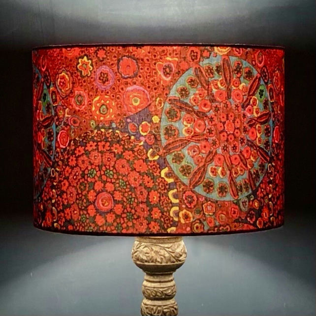 Millefiori Drum Lampshade in Red
