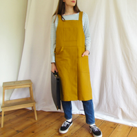 NEW Apron for Potters and Craft Makers, Split Leg, Crossback, Ochre No4:5