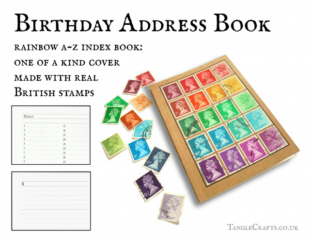 Rainbow Address Book, upcycled with real British postage stamps, A6, pocket size